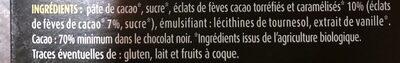 Ivoria Chocolat noir éclats de fèves de cacao BIO 100 g net - Ingrediënten