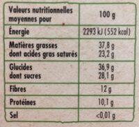 Chocolat noir aux éclats de fèves - Voedingswaarden - fr