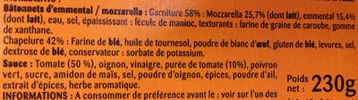 Salade & Apéro Cheese' Sticks - Ingrédients - fr
