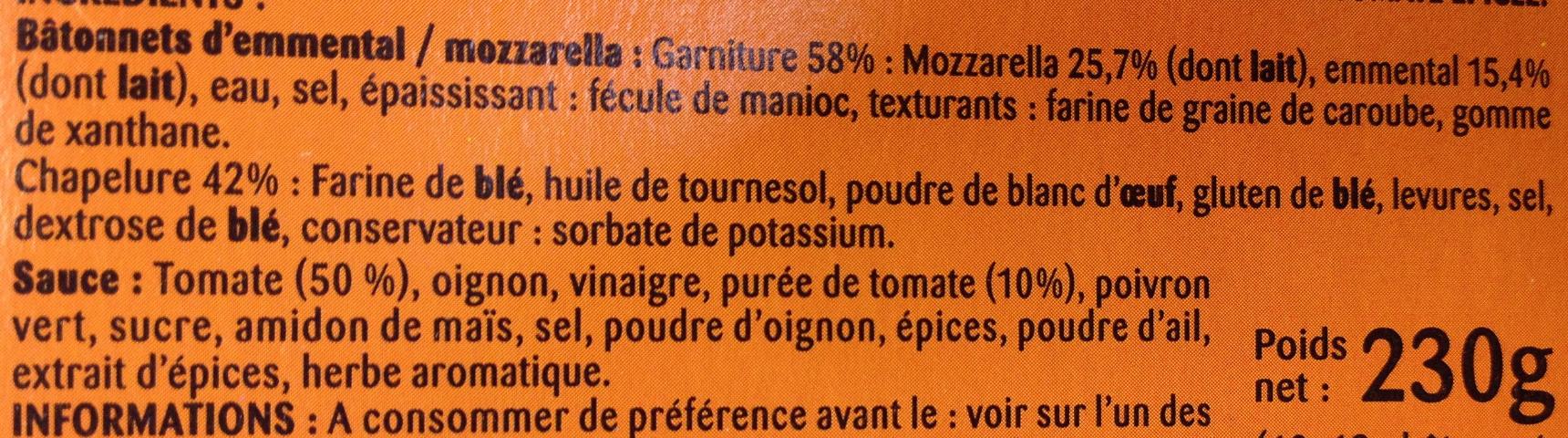 Salade & Apéro Cheese' Sticks - Ingredients - fr