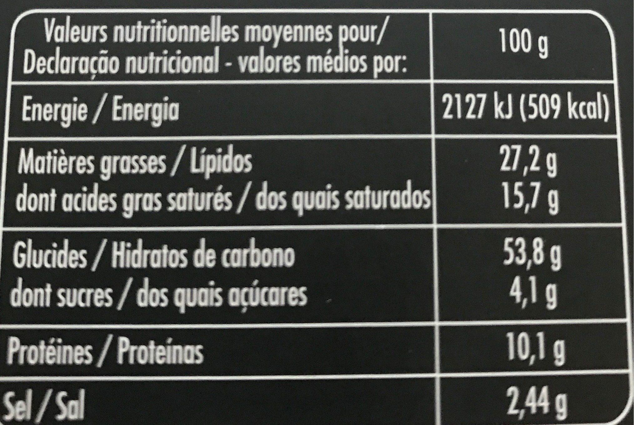 Les Triangles Feuilletés Deux sésames et Pavot - Informations nutritionnelles - fr