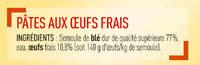 Tagliatelles fraîches - Ingredients
