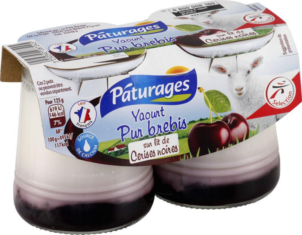 Yaourt pur brebis sur lit de cerises noires - Produit - fr