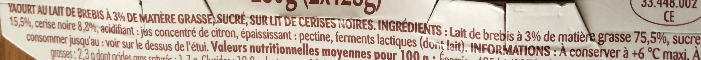 Yaourt pur brebis sur lit de cerises noires - Ingrédients - fr