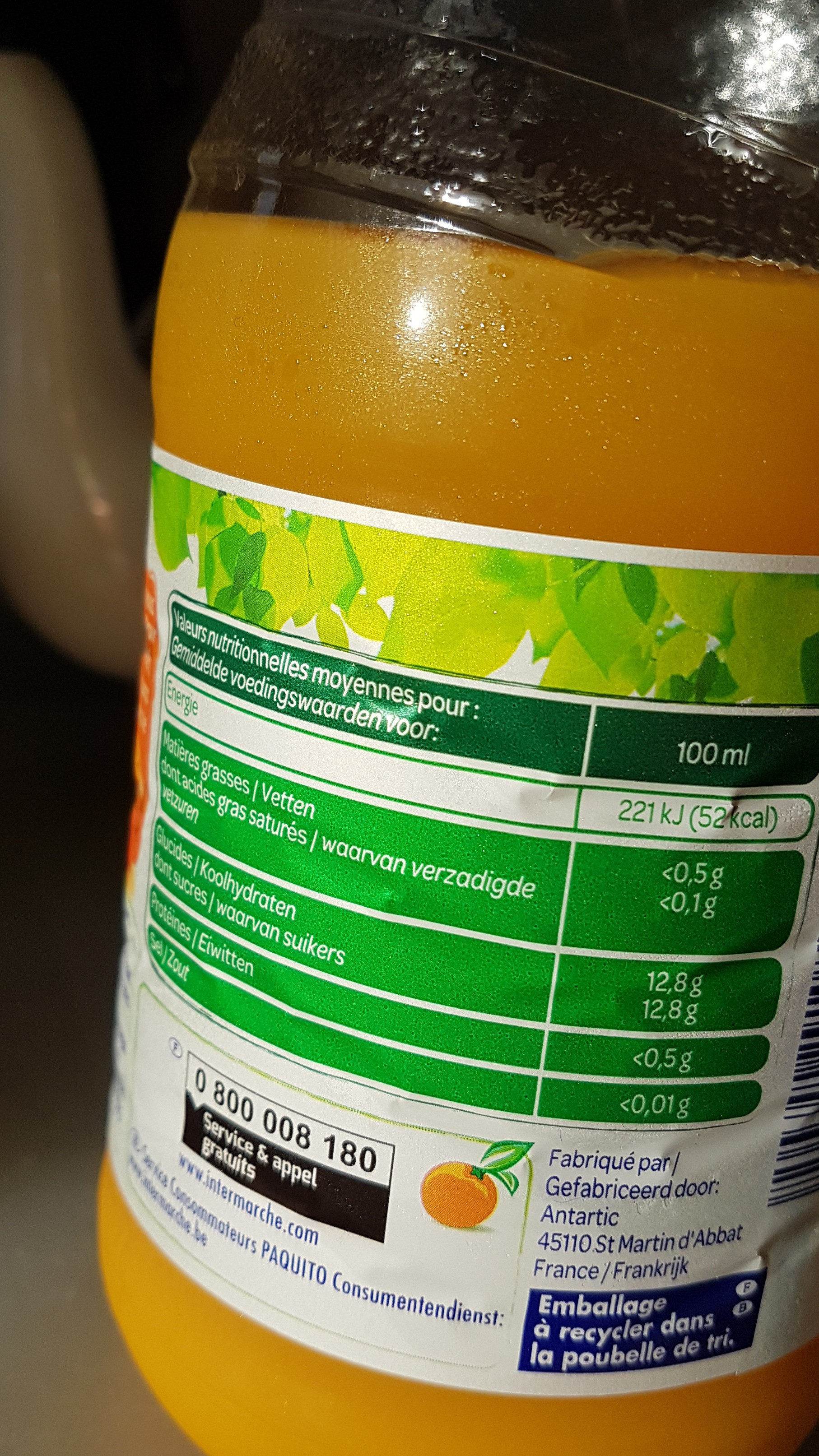 100% Pur jus Douceur du matin - Voedingswaarden - fr
