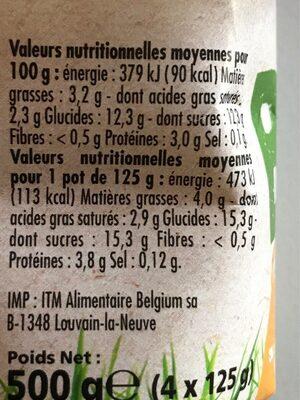 Yaourt vanille au lait entier bio - Valori nutrizionali - fr