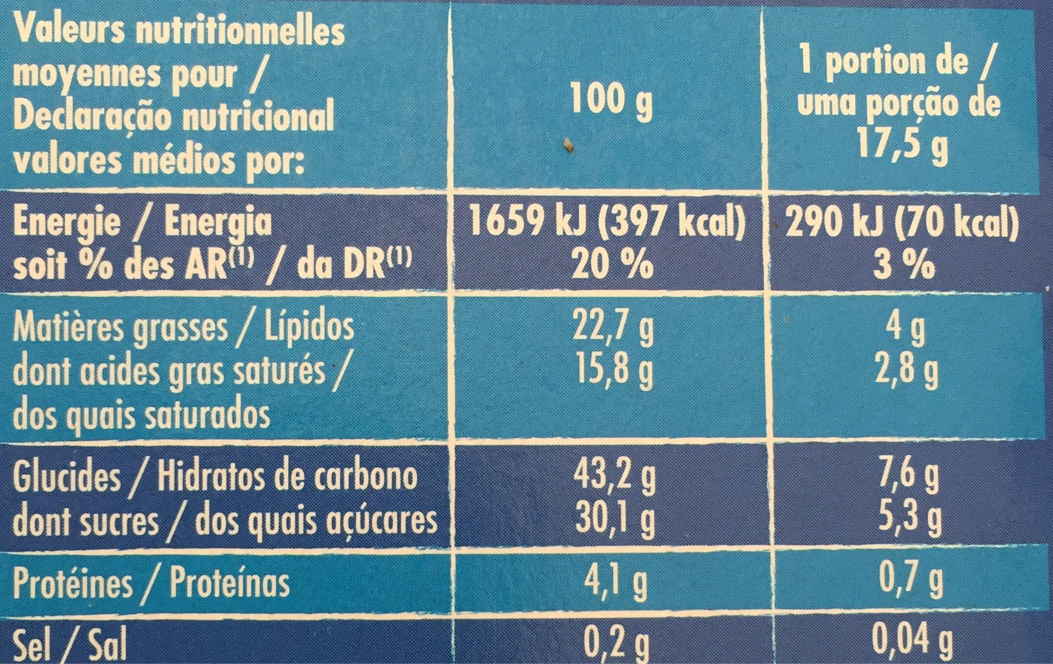 10 mini cônes - Informations nutritionnelles - fr