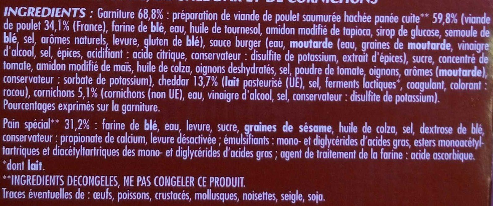 Chicken Burger Mon Snack - Ingrédients