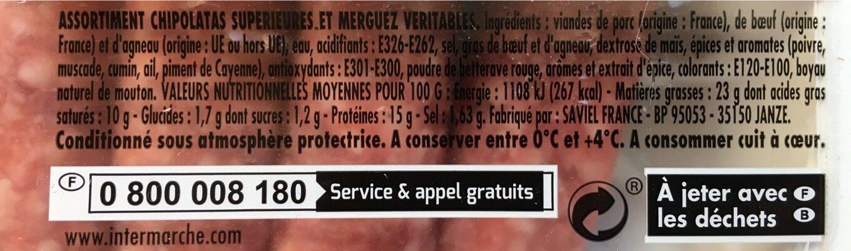 Jean Rozé Chipolatas SUPERIEURES et merguez VERITABLES la barquette de 12 - Informations nutritionnelles