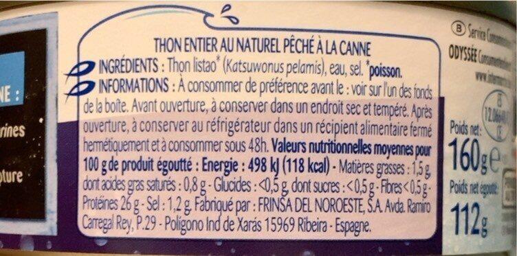 Thon entier au naturel pêché à la canne - Valori nutrizionali - fr