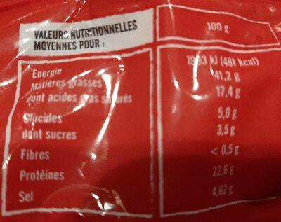 Chorizo au piment d'Espagne doux - Informations nutritionnelles - fr