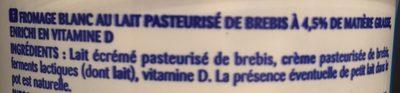 Fromage Blanc au Lait de Brebis - Ingrédients - fr
