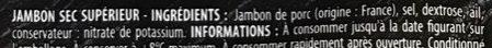 Jambon sec, Tranches fines - Ingrédients - fr