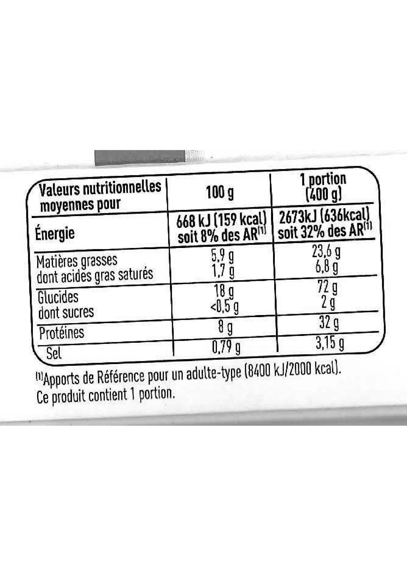 PaëllaPoulet et fruits de mer - Nutrition facts