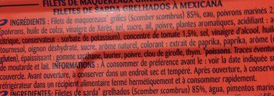 Filets de maquereaux grillés - Informations nutritionnelles - fr