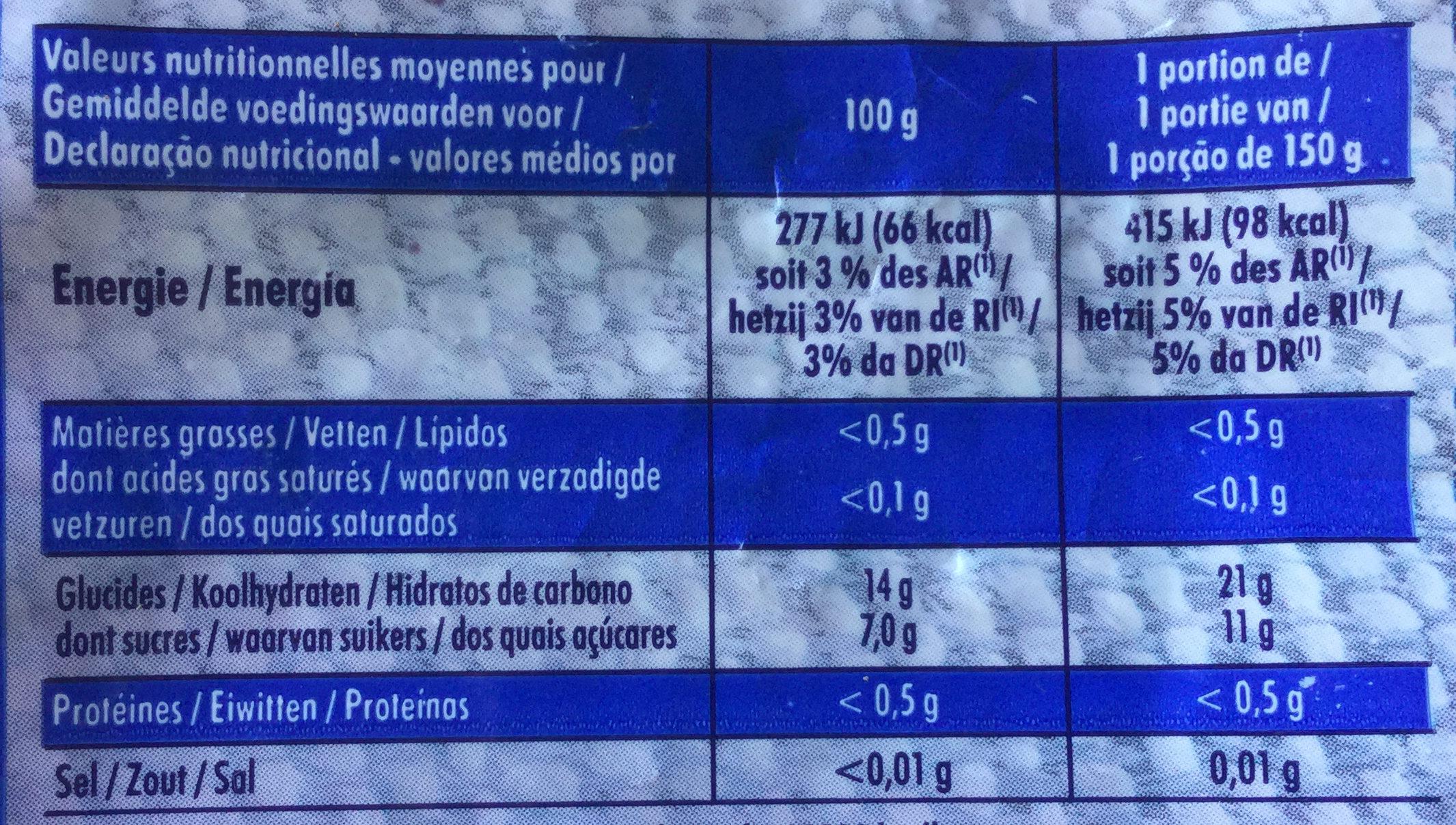 Myrtilles sauvages - Informação nutricional - fr