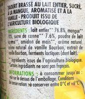 Yaourt brassé mangue vanille - Ingrediënten - fr