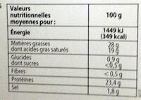 La Tomme tranchettes - Informations nutritionnelles - fr