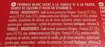 Pâturages Fromage blanc fraise vanille les 12 tubes de 40 g - Ingrédients