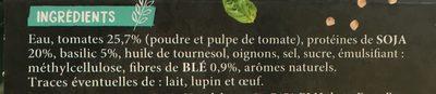 Steaks de Soja Tomate et Basilic - Ingrédients