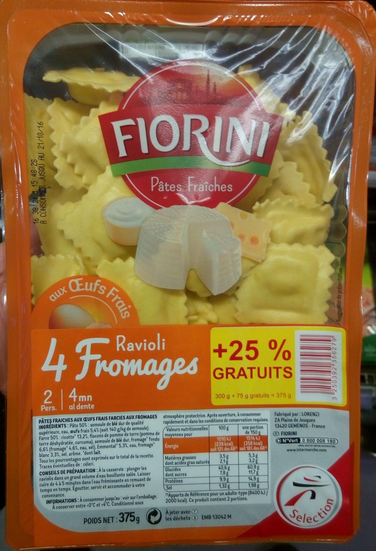 Ravioli 4 Fromages (+25 % gratuit) - Produit