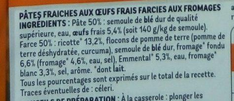 Ravioli 4 Fromages (+25 % gratuit) - Ingrédients