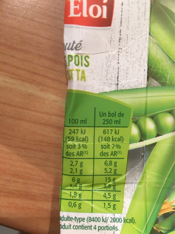 Velouté petits pois et ricotta - Informations nutritionnelles - fr