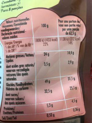 Fondant au Chocolat - Nutrition facts