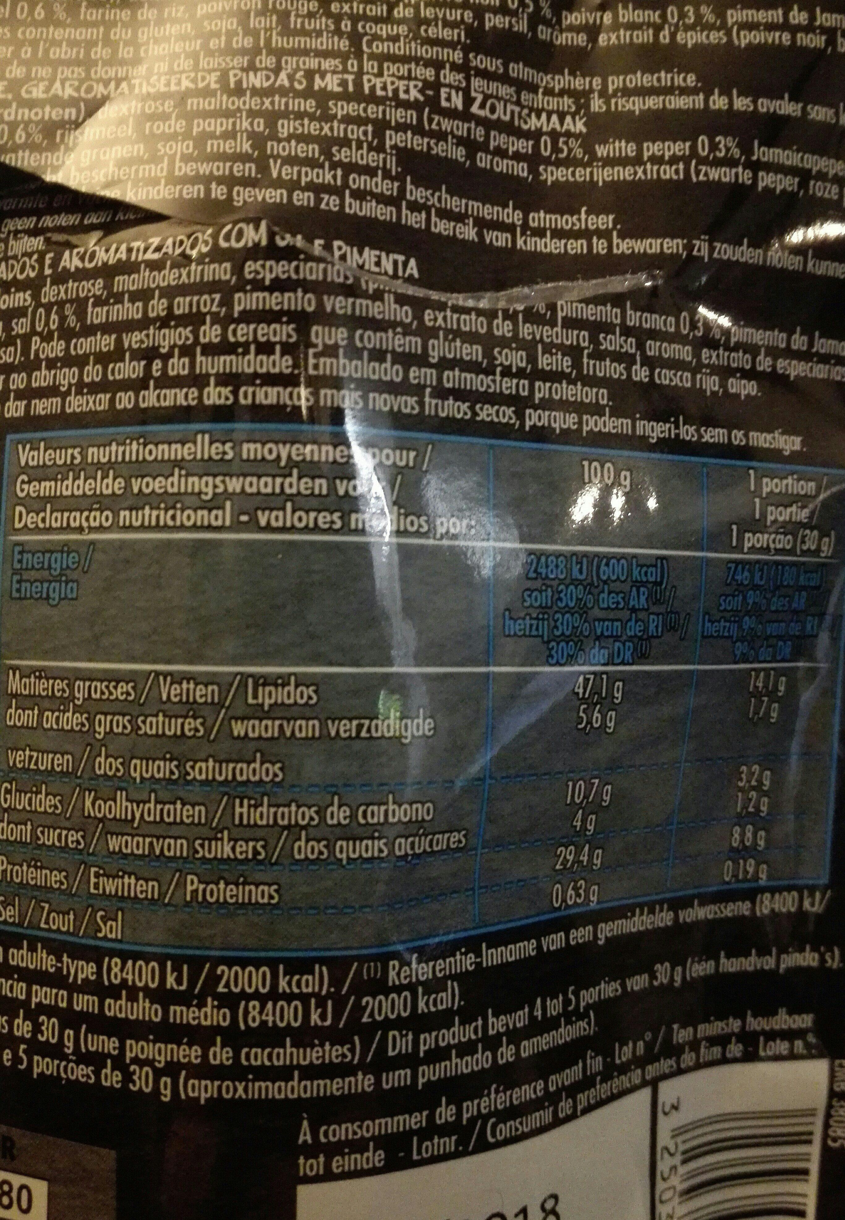 Cacahuète grillées à sec saveur sel et poivre - Ingredients - en