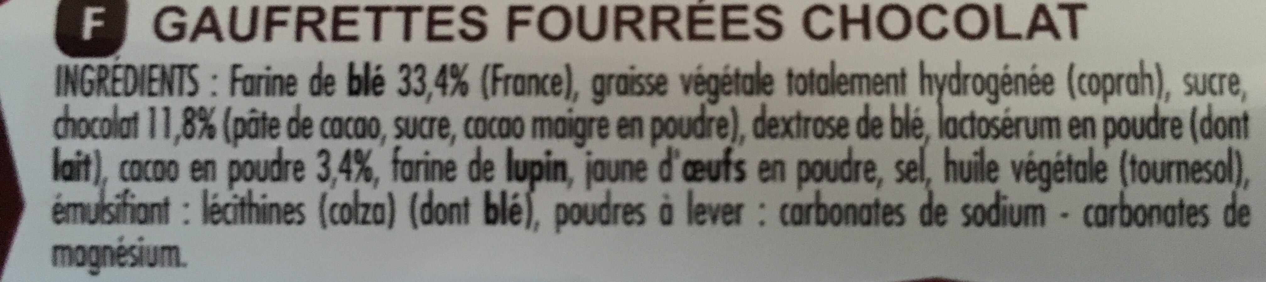 Gaufrettes croustilles chocolat - Ingrediënten - fr