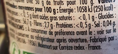 Confiture framboise au sucre de canne BIO - Valori nutrizionali - fr