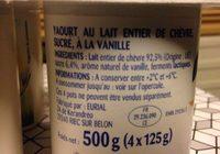 Yaourt Au Lait De Chevre - Ingrédients - fr