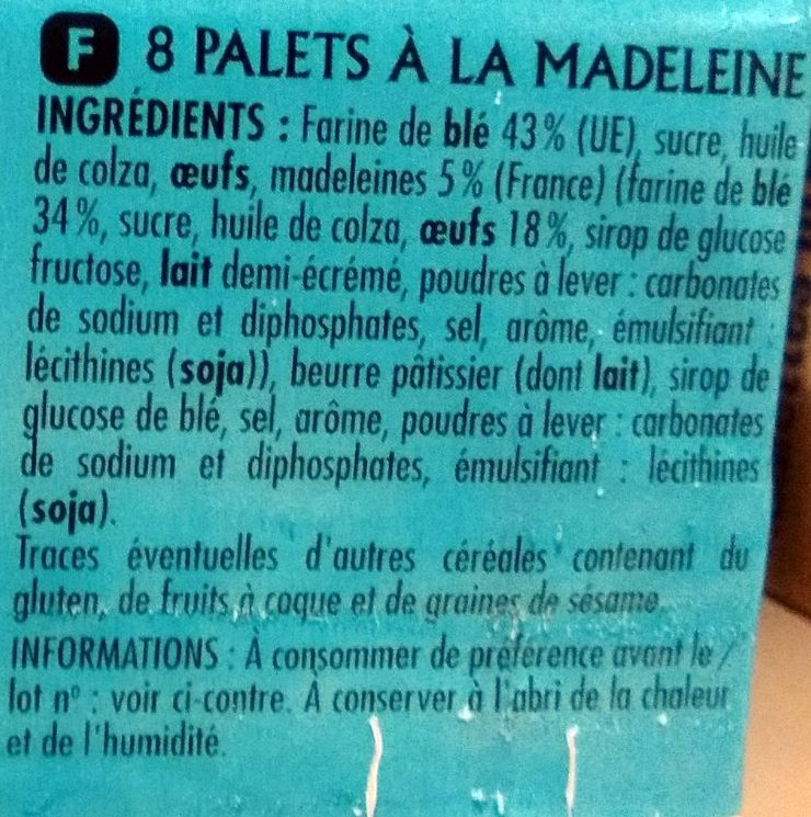 Palets Recette à la Madeleine - Ingrediënten - fr