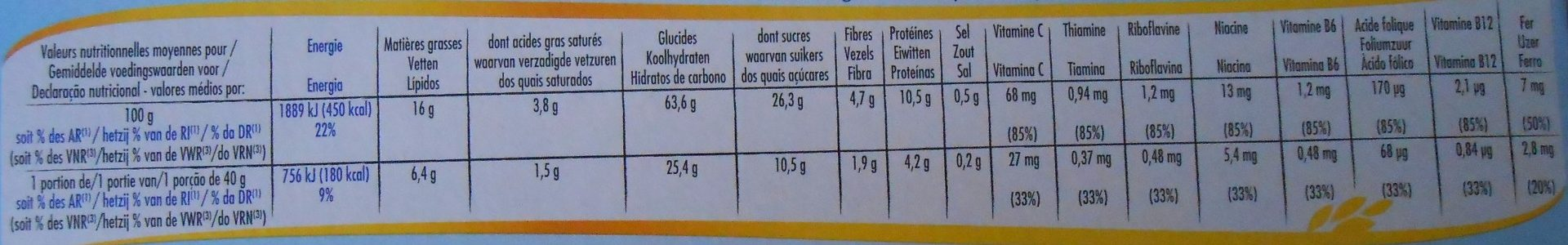 Céréales Crica Lait - Nutrition facts