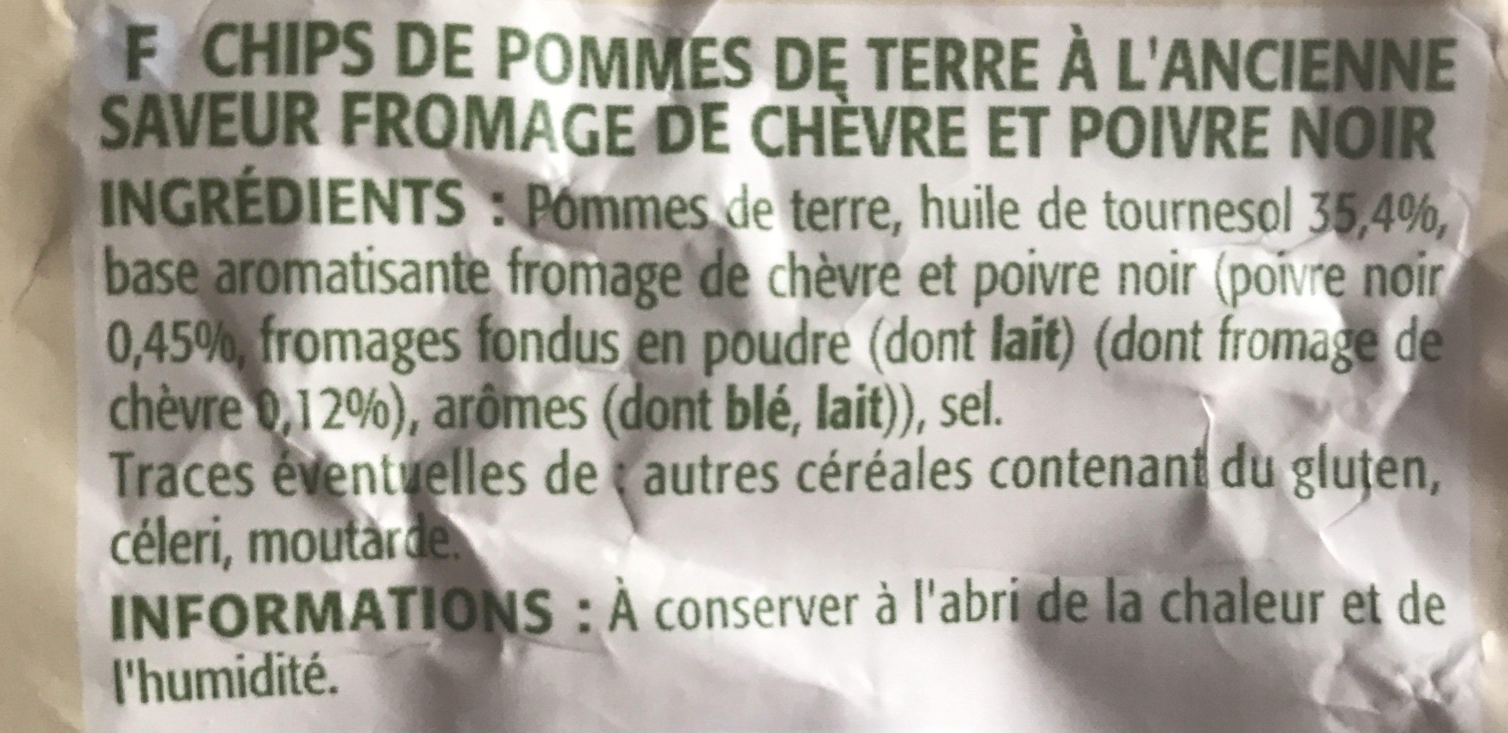 Chips à l'ancienne saveur chèvre & poivre - Ingrédients - fr