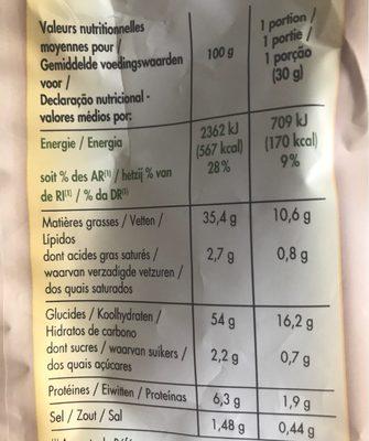 Chips à l'ancienne saveur chèvre & poivre - Informations nutritionnelles - fr