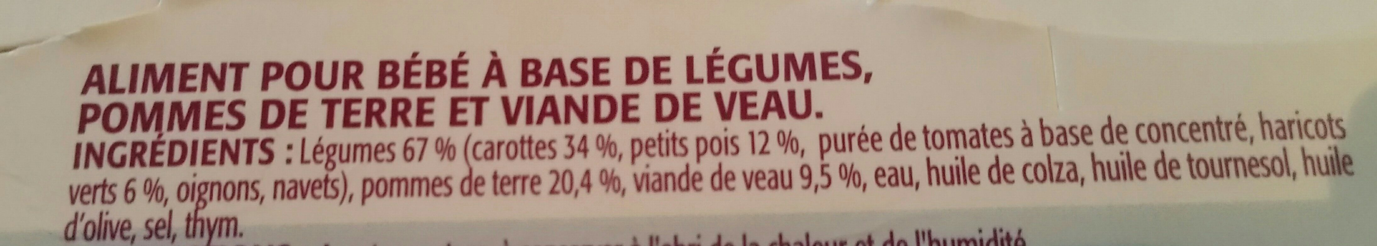 Pommette Printanière de légumes veau, dès 8 mois les 2 pots de 200 g - Ingrédients