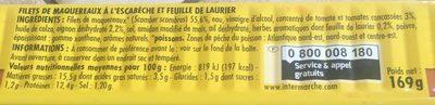 Capitaine Cook Filets de maquereaux sauce escabèche & laurier 169 g - Ingredients