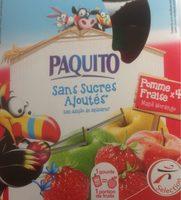 Paquito Spécialité de fruits pomme fraise sans sucres ajouté... les 4 gourdes de 90 g - Produit