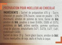Préparation pour Moelleux au chocolat - Ingrédients - fr