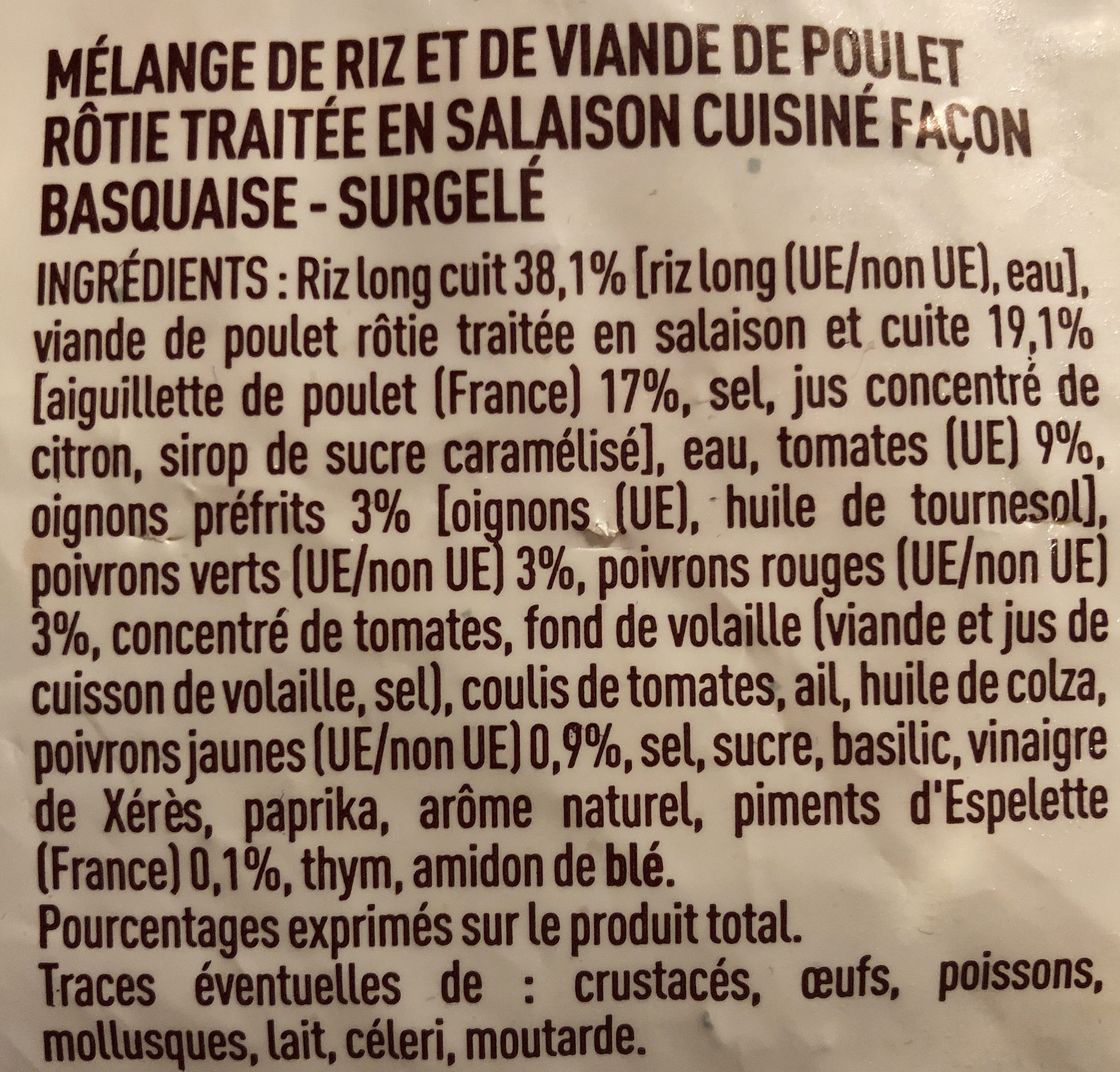 Poêlée façon poulet Basquaise - Ingrédients - fr
