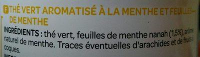 Thé Vert parfumé Menthe - Ingrediënten - fr