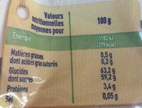 Raisins secs sultanine - Informations nutritionnelles - fr