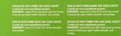 Assortiment de compotes sans sucres ajoutés - Ingrédients - fr