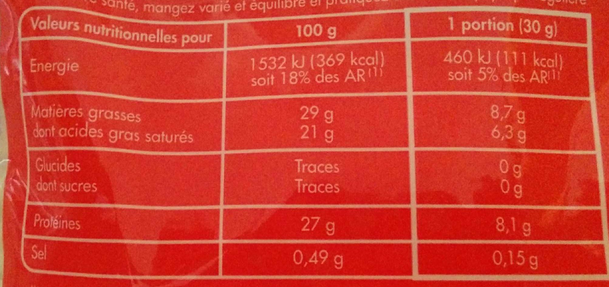 Emmental français râpé -30% de sel - Nutrition facts