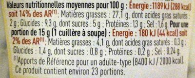 Sauce Kebab - Informations nutritionnelles - fr
