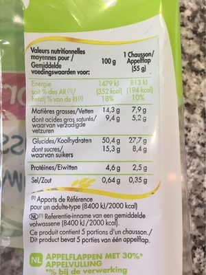 5 Chaussons aux Pommes - Nutrition facts