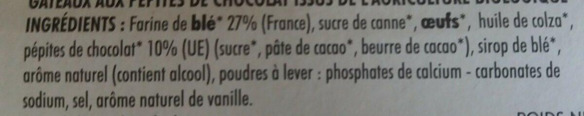 Mini cakes aux pépites de chocolat BIO le paquet de 150 g - Ingrédients - fr