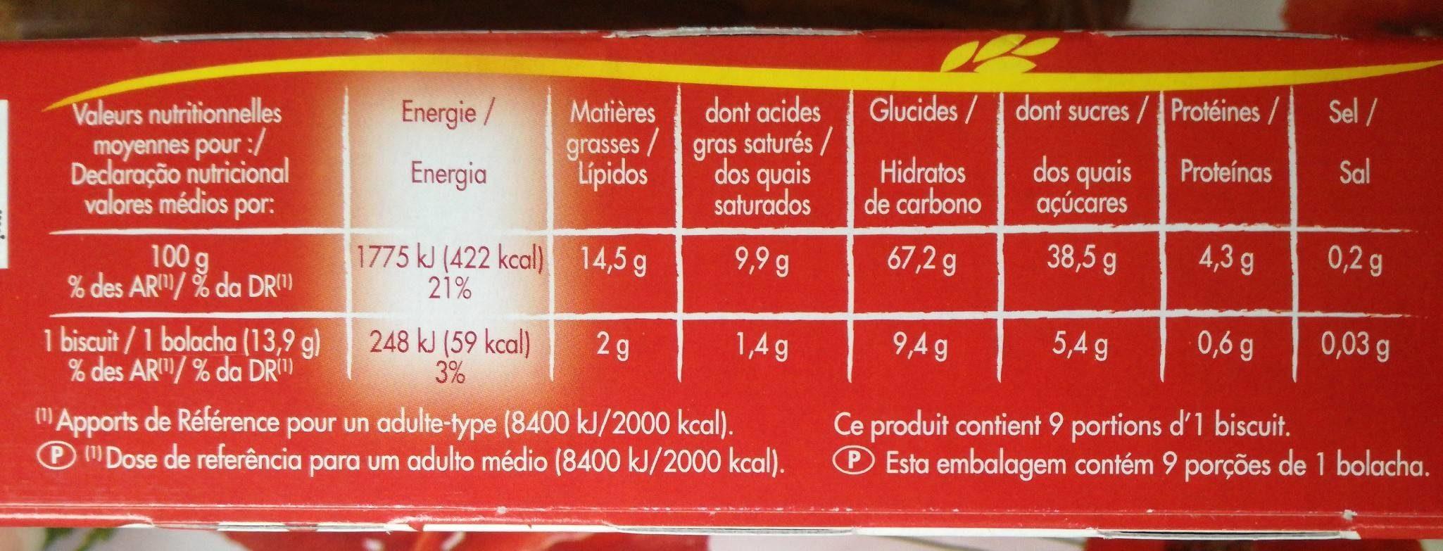 Tartelettes fruits rouges et Crumble le paquet de 125 g - Nutrition facts - fr