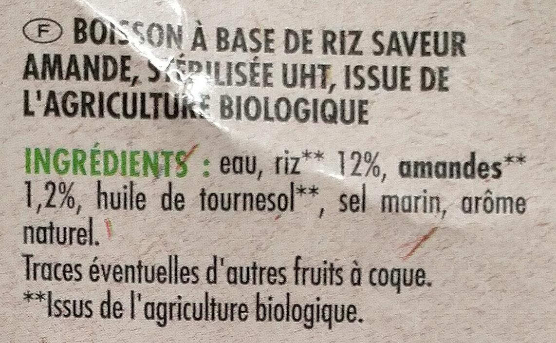 Boisson saveur amande bio - Ingrédients - fr